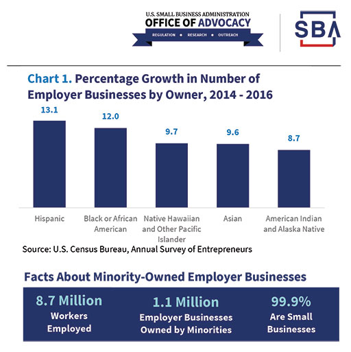 Percentage of growth in number of Employers Businesses by Owner - Minority
